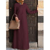 Women Cotton Solid Color Button Down Front Stand Collar Casual Maxi Dress With Pocket