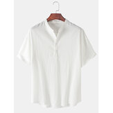 Mens Solid Color Stand Collar Short Sleeve Simple Henley Shirts