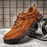 Erkekler Rahat El Dikiş Mikrofiber Deri Kaymaz Yumuşak Bağcıklı Rahat Ayakkabılar