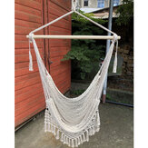 Extendable Mesh Woven Hammock Tassel Hanging Basket Load 120KG for Indoor Outdoor Living Room Balcony