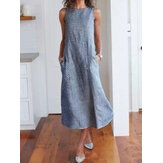 Women Casual Sleeveless Striped Maxi Dress with Pockets