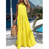 Women Solid Color Sleeveless Round Neck Yellow Pleated Maxi Dress With Pocket