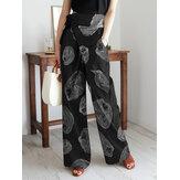 Women Cotton Floral Print Breathable Bandage Wide Leg Pants With Pocket