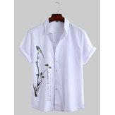 Men Oriental Art Print Short Sleeve Relaxed Shirts
