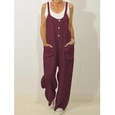 Womens Solid Button Front Double Pocket Casual Strappy Jumpsuits