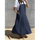 Casual Women Loose Pockets Solid Color Sleeveless Dress