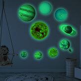 Świetlne naklejki Układu Słonecznego Dziewięć planet Samoprzylepne fluorescencyjne naklejki dla dzieci Wystrój domu na ścianę do sypialni