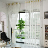 2 Panel Grid Pattern Tulle Sheer Curtains Bedroom Living Room Hollow Out Window Screening