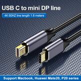 Kabel Bakeey USB-C a Mini Display podporuje 4K 60 Hz kompatibilní s porty Thunderbolt 3 pro notebook Huawei P30 Pro Mate 30+.