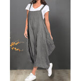 Sleeveless Strap Pocket Striped Casual Dress