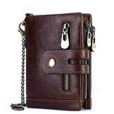 Ανδρικό γνήσιο δερμάτινο πορτοφόλι RFID Αντικλεπτικό κοντό φερμουάρ με τσάντα Biker Chain Purse