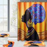 ImperméableAfricainBaotouFemmeRideauxDe Douche avec 12 Crochets Salle De Bains Tapis Tapis Ensemble