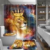 180cmx180cm Crown Lion Duş Perdesi Takımı Su Geçirmez Duş Paspas Takımı