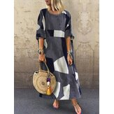 Women Geometric Print O-Neck 3/4 Sleeve Side Pockets Dress
