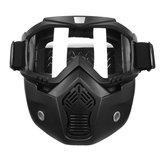 Detachable Modular Helmet Face Mask Shield Goggles Clear Lens Motorcycle Bike