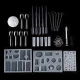25ピース樹脂鋳造金型キットシリコーン作りジュエリーDIYペンダントクラフトセット