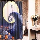 Halloween Albtraum Mond Schädel Polyester Duschvorhang Badezimmer Dekor mit 12 Haken