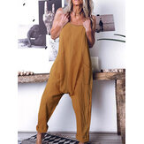 Women Casual Solid Color Cotton Sleeveless Harem Pants Jumpsuits with Side Pockets