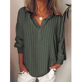 Women Casual Striped Button Long Sleeve Blouse