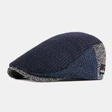 Herren Wolle Britische Stil Kontrastfarbe Warm Casual Gestrickt Vorwärts Hut Baskenmütze Hut