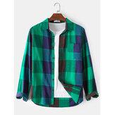 100% Cotton kẻ sọc ve áo cổ áo sơ mi dài tay có túi