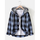 Mens Plaid Button Up Long Sleeve Casual Drawstring Hooded Jacket