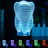 Ilusão Iluminado 3D Mudança de Cor Interruptor de Toque Dente LED Desk Night Light Lamp Xmas Presente