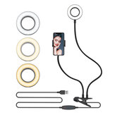 BlitzWolf® BW-SL6 Clip Selfie Ring Light avec support de téléphone portable flexible Lazy Bracket Desk Lamp LED Light for Live Stream Makeup Office Kitchen