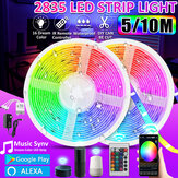16FT / 32FT 5M / 10M 2835 RGB IP65 LED Strip Light + bluetooth WiFi controller + 24Keys التحكم عن بعد Control + 12V القوة العمل مع Google Alexa