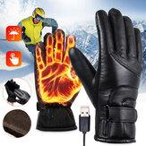 قفازات كهربائية للتدفئة مقاومة للرياح لركوب الدراجات في الشتاء تدفئة تدفئة لمس شاشة قفازات تزلج USB قفازات ساخنة تعمل بالطاقة
