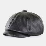 Mannen pu leer retro Britse stijl herfst winter warm houden achthoekige hoed krantenverkoper hoed