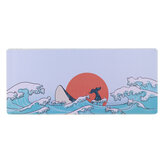 Coral Sea/Ukiyo-E Red/Dark Messenger Keyboard & Mouse Pad Large Mouse Pad Keyboard Mat for Home Office