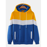 Mens Color Block Patchwork Flocking Casual Loose Drawstring Hoodies With Pocket