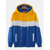 Herenkleurenblok patchwork stroomden casual losse hoodies met trekkoord met zak