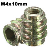 5Pcs M4x10mm Hex Drive Screw In Threaded Insert For Wood Type E
