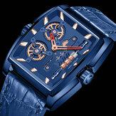 MINI FOCUS MF0322G Творческий циферблат Прямоугольные мужские наручные часы Натуральная Кожа Стандарты Кварцевые часы