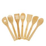 8pcs ustensiles de cuisine antiadhésifs en bambou cuillères en bois et ensemble d'ustensiles de spatule