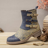 SOCOFY Printed Cloth Splicing Round Toe Embossed Genuine Leather Comfy Zipper Short Boots