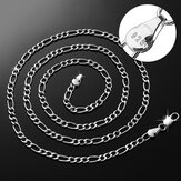 925 Sterling Silver Stamp Figaro Chain Necklace 16 18 20 22