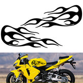 2pcs Flame Badge Decal Car Motorcycle Gas Tank Decorative Stickers 13.9x5.1 Inch Universal