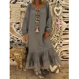Retro Women Loose Solid V-Neck Lace Patchwork Long Sleeve Maxi Dress