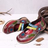 SOCOFY Retro hueco hueco en relieve Piel Genuina empalme floral Gancho zapatos planos de bucle