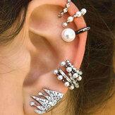 9 szt. Kolczyk chrząstkowy zestaw dla kobiet bez piercingu z perłą