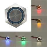 12V 5 broches 19mm Led Light Acier inoxydable Push Button Momentané Switch Sliver