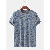 100% Pamuk Tasarım Yapraklar Baskı Nefes Yuvarlak Boyun Kısa Kollu T-Shirt