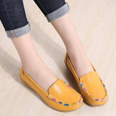 Women Colorful Stricing Comfy Non Slip Casual Slip On Loafers