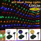 Solar Powered LED Mesh Curtain Fairy String Light Wedding Indoor Outdoor Outdoor Christmas Garden Party Lamp