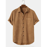 Mens Basic Solid Corduroy Chest Pocket Lapel High Low Hem Short Sleeve Shirts