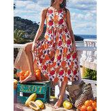 А-силуэт Свободное повседневное праздничное платье-миди с цветочным принтом и круглым вырезом без рукавов Женское Платье