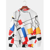 Herre Design Color Block Pullover Drop Shoulder Sweatshirts